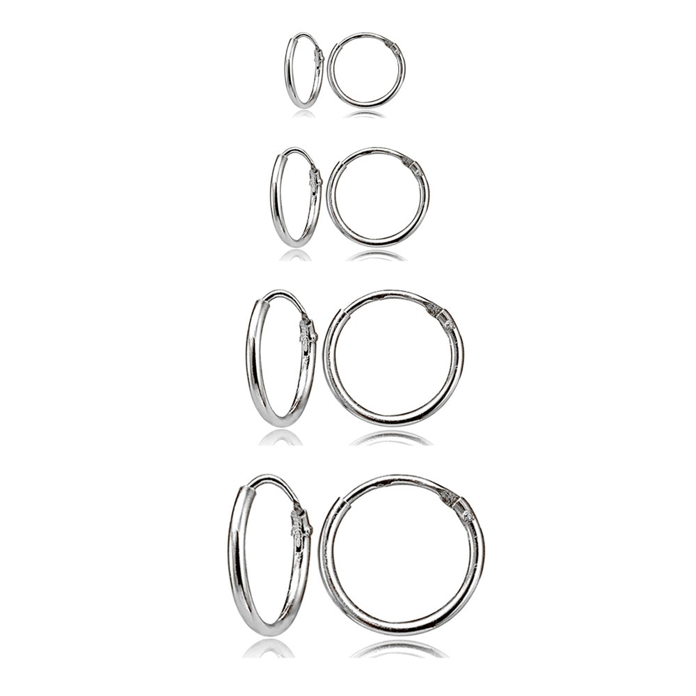 7353c9ab9 4 Pair Set Sterling Silver 10mm, 12mm, 14mm & 16mm Tiny Small Lightweight  Thin Round Continuous Endless Unisex Hoop Earrings