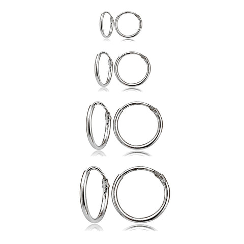 4 Pair Set Sterling Silver 10mm, 12mm, 14mm & 16mm Tiny Small Lightweight Thin Round Continuous Endless Unisex Hoop Earrings