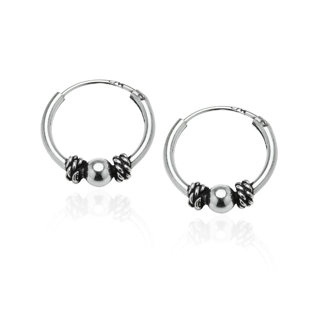 Sterling Silver 10mm, 12mm & 14mm Polished Bead and Bali Bead Endless Hoop Earrings, Set of 3