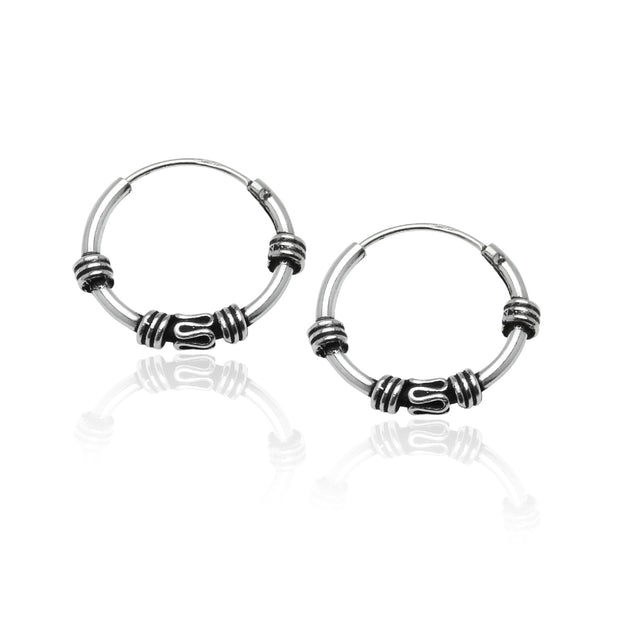 Sterling Silver Set of Three 10mm, 12mm & 14mm Bali Bead and Bali Endless Hoop Earrings