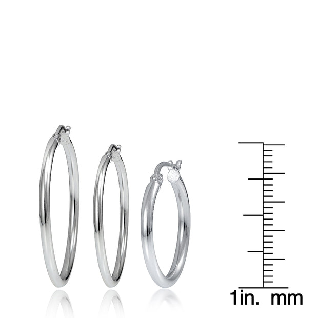 Set of 3 Sterling Silver 2mm Polished Round Hoop Earrings, 20mm, 25mm 30mm