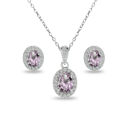 Sterling Silver Simulated Alexandrite and White Topaz Oval Halo Necklace and Stud Earrings Set