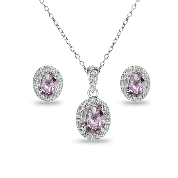 Sterling Silver Created Alexandrite and White Topaz Oval Halo Necklace and Stud Earrings Set