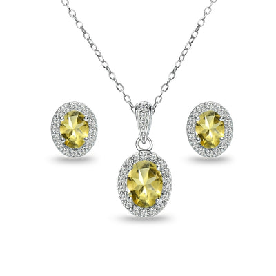 Sterling Silver Citrine and White Topaz Oval Halo Necklace and Stud Earrings Set