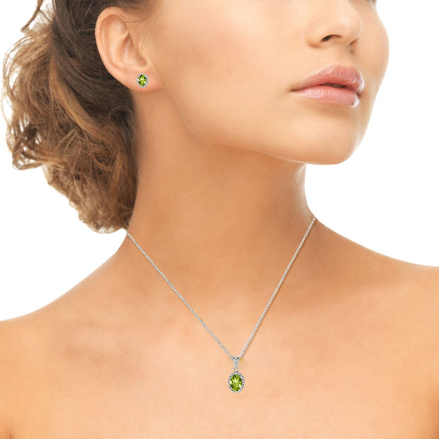 Sterling Silver Peridot and White Topaz Oval Halo Necklace and Stud Earrings Set