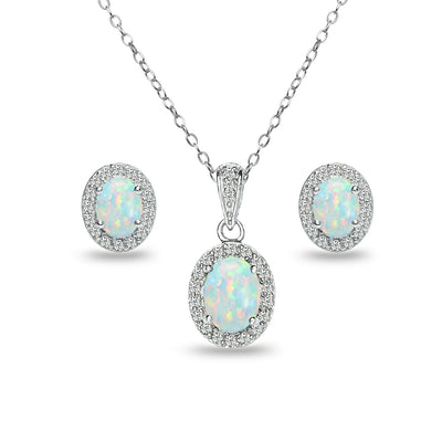 Sterling Silver Simulated White Opal and White Topaz Oval Halo Necklace and Stud Earrings Set