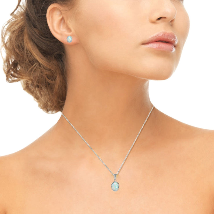 Emerald Pendant and Earrings Genuine Gemstone 4mm Round Set in 925 Sterling Silver with 18inch Chain Included