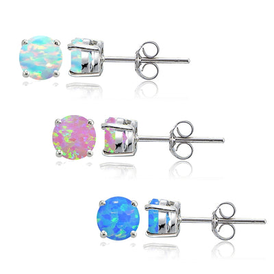 Sterling Silver Blue White and Pink Created Opal 4mm Round Stud Earrings, Set of 3
