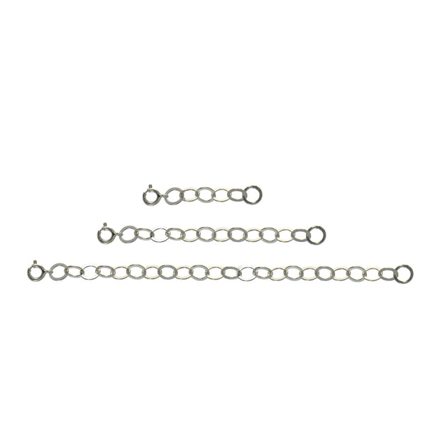 Sterling Silver Flat Round Link Extender Set for Pendants Necklaces 3 Sizes