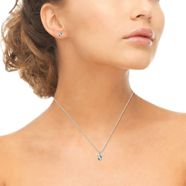 Sterling Silver Light Aquamarine & White Topaz Round Crown Stud Earrings & Necklace Set