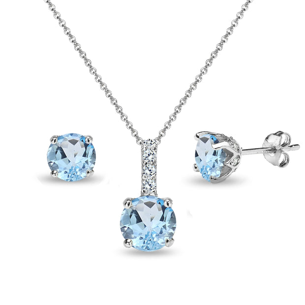 Sterling Silver Blue Topaz & White Topaz Round Crown Stud Earrings & Necklace Set