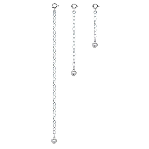 Sterling Silver Oval Link Extender Set for Pendants Necklaces w/ Puffed Heart, 3 Sizes