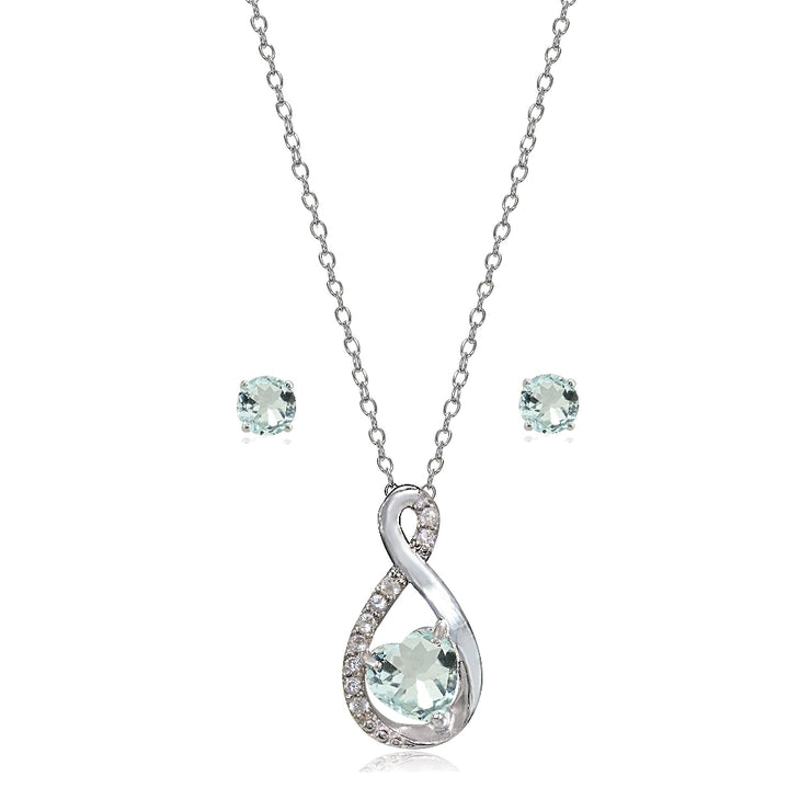 Sterling Silver Aquamarine & White Topaz Infinity Heart Necklace Earrings Set