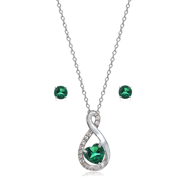 Sterling Silver Created Emerald & White Topaz Infinity Heart Necklace Earrings Set