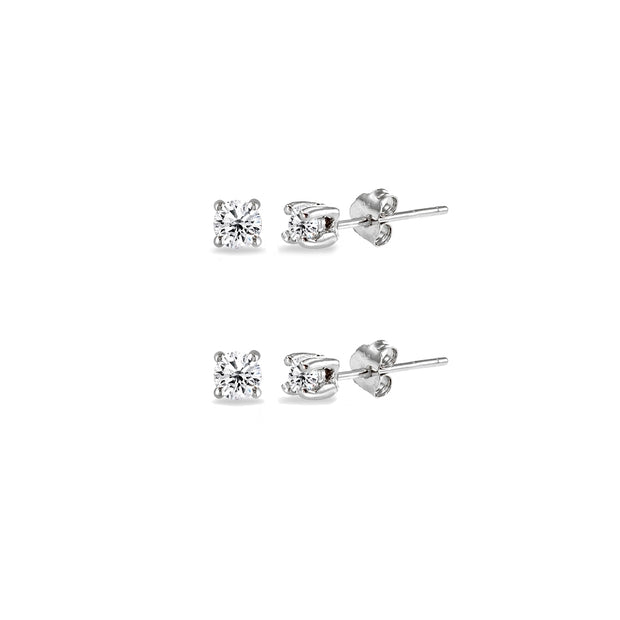 Sterling Silver Cubic Zirconia Set of 2 Round 2mm Stud Earrings