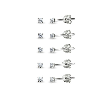 Sterling Silver Cubic Zirconia set of 5 Round 2mm Stud Earrings