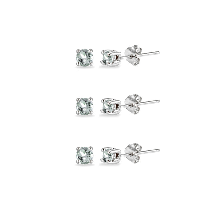 3-Pair Set Sterling Silver Light Aquamarine 2mm Round Stud Earrings