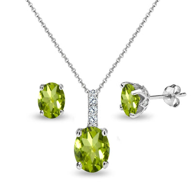 Sterling Silver Peridot and White Topaz Oval Crown Necklace & Stud Earrings Set