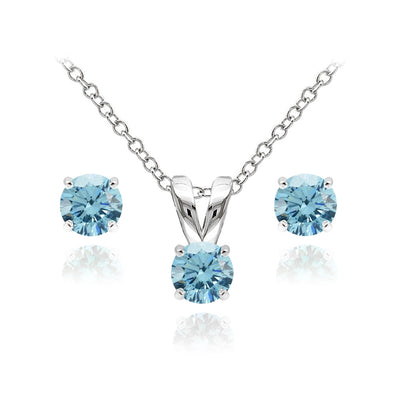 Sterling Silver Solitaire Light Blue Necklace and Stud Earrings Set created with Swarovski Crystals