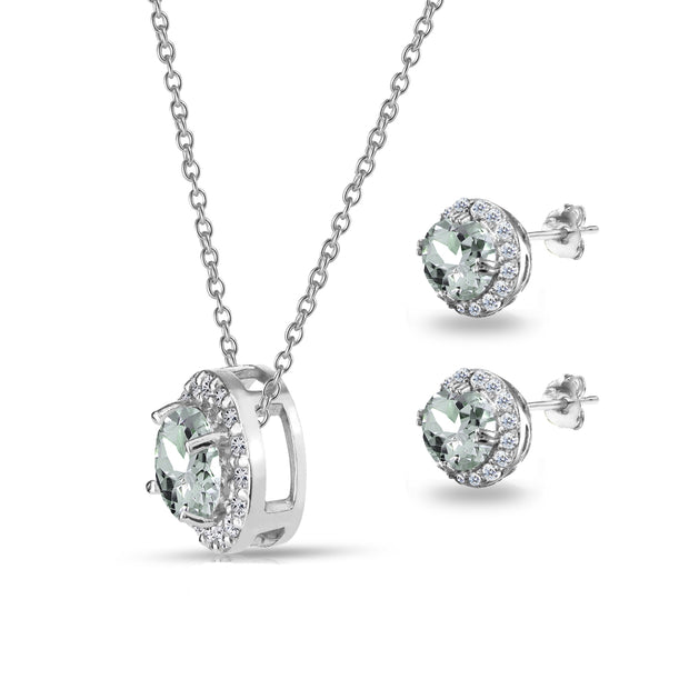Sterling Silver Aquamarine and White Topaz Round Halo Necklace and Stud Earrings Set