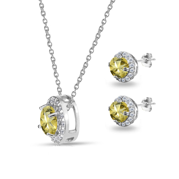 Sterling Silver Citrine and White Topaz Round Halo Necklace and Stud Earrings Set