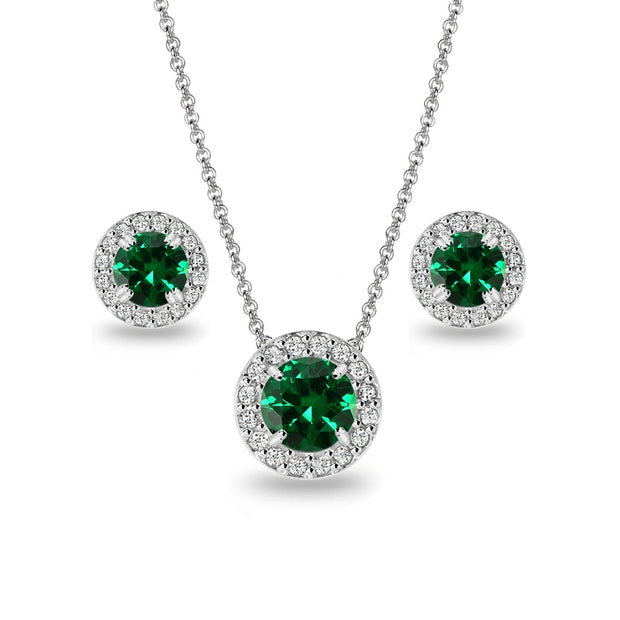 Sterling Silver Simulated Emerald and White Topaz Round Halo Necklace and Stud Earrings Set