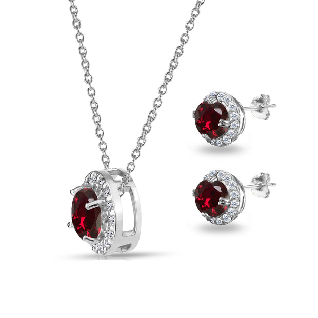 Sterling Silver Created Ruby and White Topaz Round Halo Necklace and Stud Earrings Set
