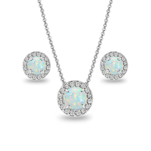Sterling Silver Simulated White Opal and White Topaz Round Halo Necklace and Stud Earrings Set