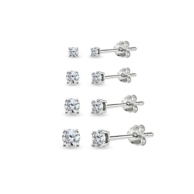 4 Pair Set Sterling Silver Cubic Zirconia Round Stud Earrings, 2mm 3mm 4mm 5mm