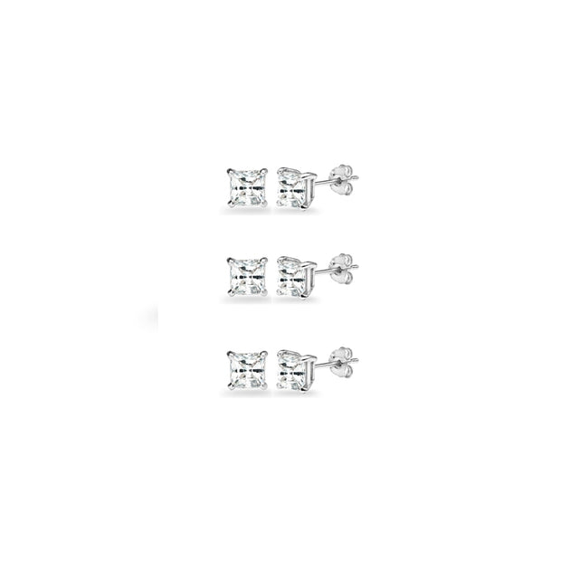 3-Pair Set Sterling Silver White Topaz Princess-Cut 4mm Square Stud Earrings