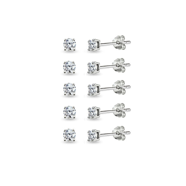 5-Pair Set Sterling Silver Cubic Zirconia 3mm Round Stud Earrings