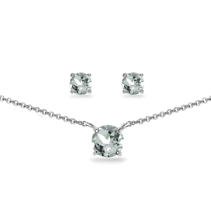 Sterling Silver Aquamarine Round Solitaire Choker Necklace and Stud Earrings Set
