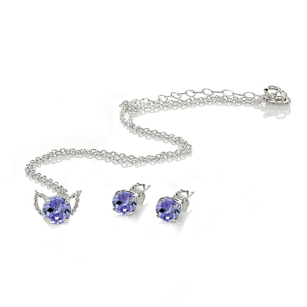 Sterling Silver Created Tanzanite Round Solitaire Choker Necklace and Stud Earrings Set