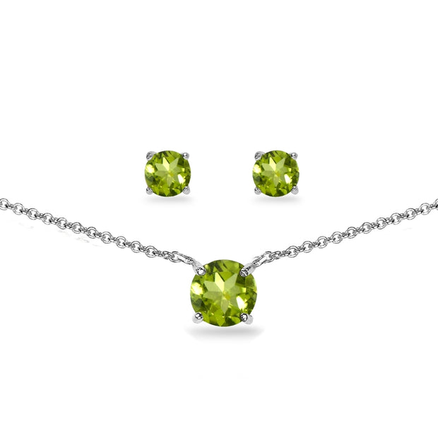 Sterling Silver Peridot Round Solitaire Choker Necklace and Stud Earrings Set