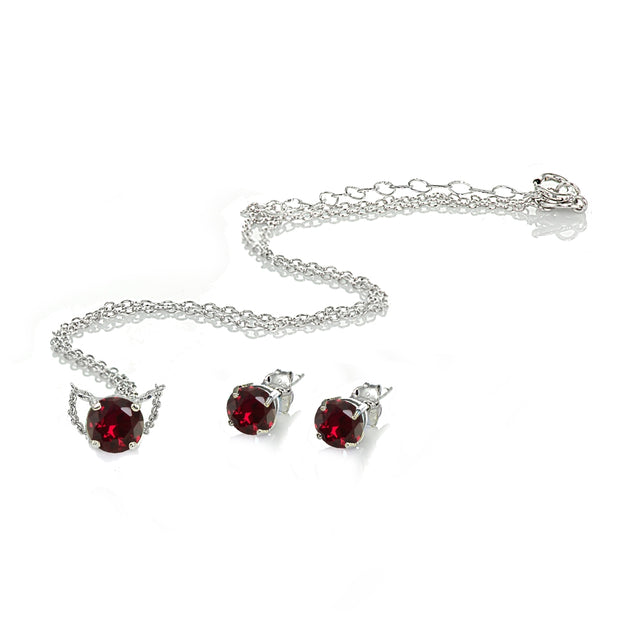 Sterling Silver Created Ruby Round Solitaire Choker Necklace and Stud Earrings Set