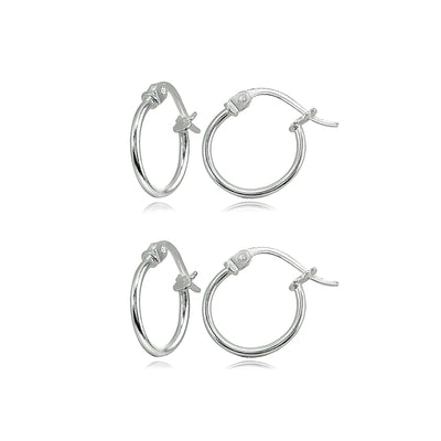 2 Pair Set Sterling Silver Tiny Small 12mm High Polished Round Thin Lightweight Unisex Hoop Earrings