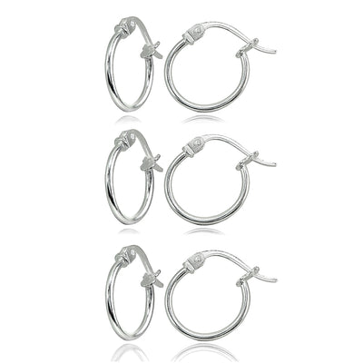 3 Pair Set Sterling Silver Tiny Small 12mm High Polished Round Thin Lightweight Unisex Hoop Earrings