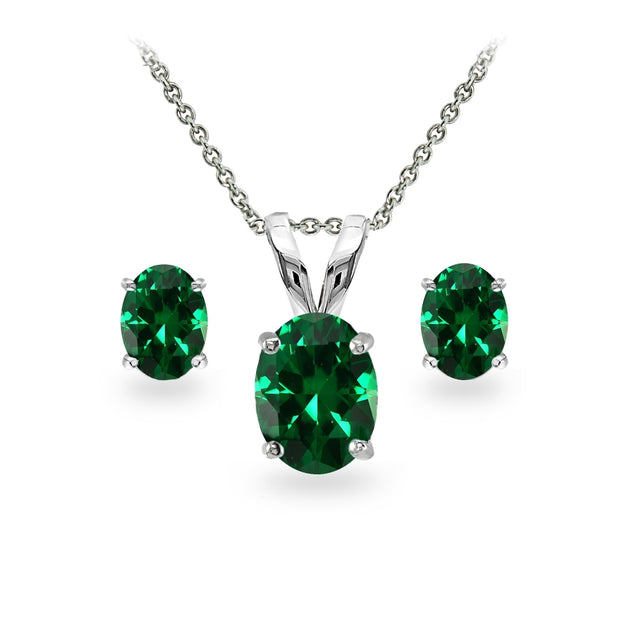Sterling Silver Simulated Emerald Oval-cut Solitaire Necklace and Stud Earrings Set