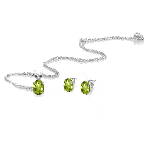 Sterling Silver Peridot Oval-cut Solitaire Necklace and Stud Earrings Set