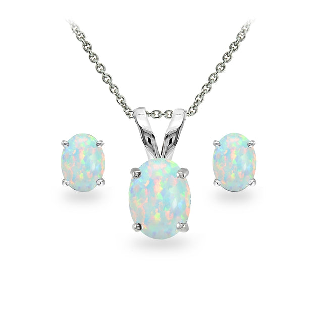 Sterling Silver Created White Opal Oval-cut Solitaire Necklace and Stud Earrings Set
