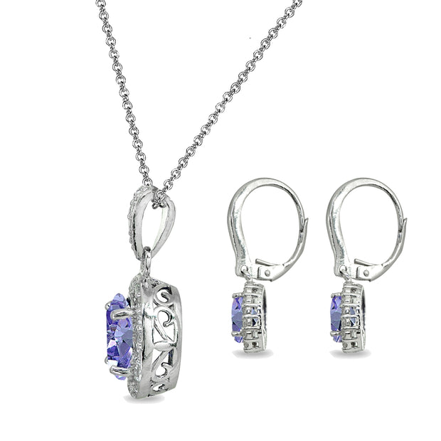 Sterling Silver Simulated Tanzanite & White Topaz Oval Halo Necklace & Leverback Earrings Set