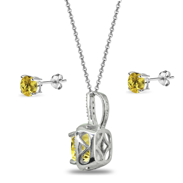 Sterling Silver Citrine and White Topaz Cushion-Cut Pendant Necklace & Stud Earrings Set