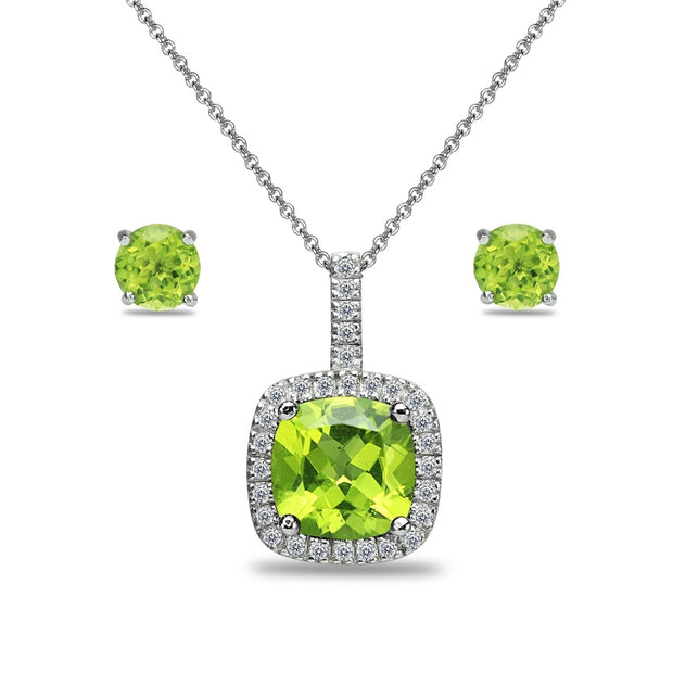 Sterling Silver Peridot and White Topaz Cushion-Cut Pendant Necklace & Stud Earrings Set
