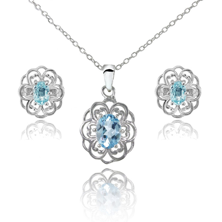 Sterling Silver Blue Topaz Oval Filigree Flower Pendant Necklace and Stud Earrings Set