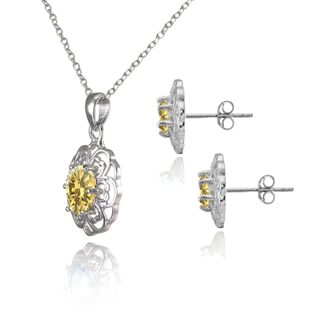 Sterling Silver Citrine Oval Filigree Flower Pendant Necklace and Stud Earrings Set