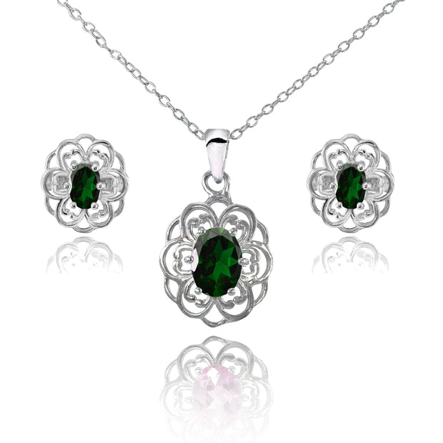 Sterling Silver Created Emerald Oval Filigree Flower Pendant Necklace and Stud Earrings Set