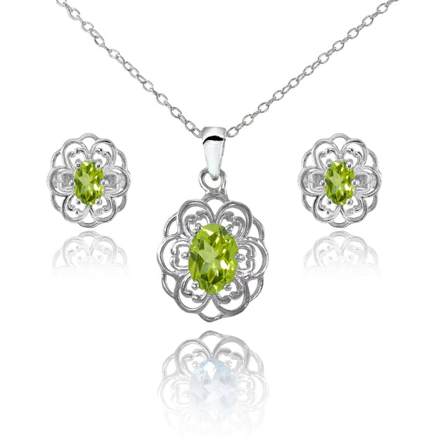 Sterling Silver Peridot Oval Filigree Flower Pendant Necklace and Stud Earrings Set