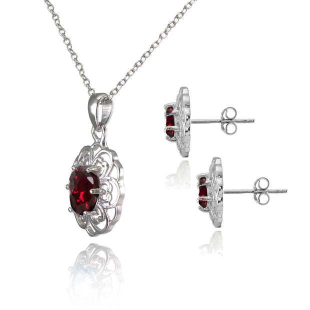 Sterling Silver Created Ruby Oval Filigree Flower Pendant Necklace and Stud Earrings Set