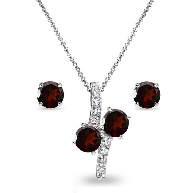 Sterling Silver Garnet Round Stud Earrings & Friendship Necklace Set
