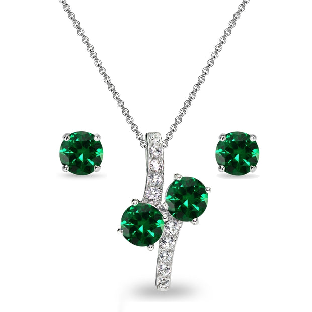 Sterling Silver Created Emerald Round Stud Earrings & Friendship Necklace Set